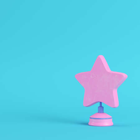 Star with stand on bright blue background in pastel colors. Minimalism concept. 3d render