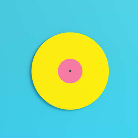 Yellow vinyl record on bright blue background in pastel colors. Minimalism concept. 3d render