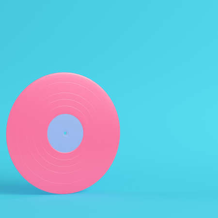 Vinyl record on bright blue background in pastel colors. Minimalism concept. 3d render