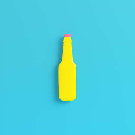 Yellow bottle with stropper on bright blue background in pastel colors. Minimalism concept. 3d render Imagens