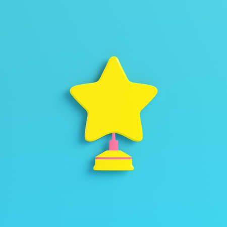 Yellow star with stand on bright blue background in pastel colors. Minimalism concept. 3d render