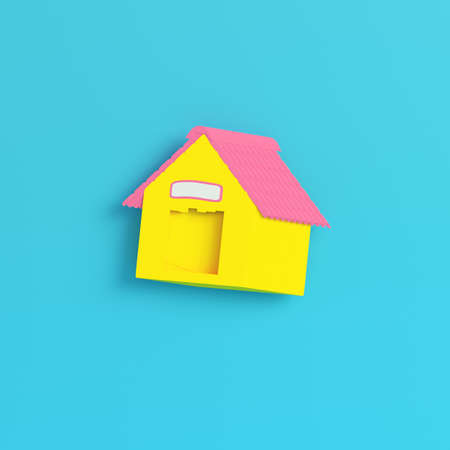 Yellow doghouse on bright blue background in pastel colors. Minimalism concept. 3d render
