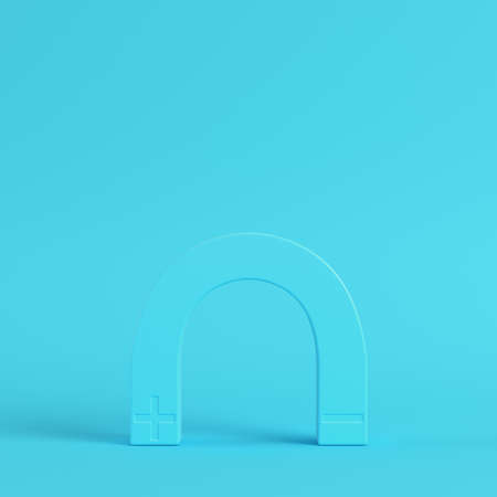 Magnet on bright blue background in pastel colors. Minimalism concept. 3d render