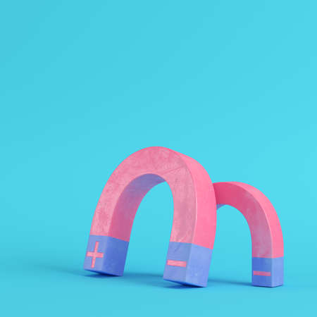 Pink magnets on bright blue background in pastel colors. Minimalism concept. 3d render