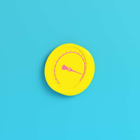 Yellow gauge on bright blue background in pastel colors. Minimalism concept. 3d render