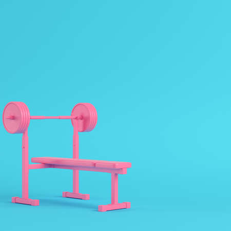 Pink barbell with bench bright blue background in pastel colors. Minimalism concept. 3d render Фото со стока
