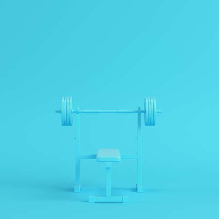 Barbell with bench on bright blue background in pastel colors. Minimalism concept. 3d render