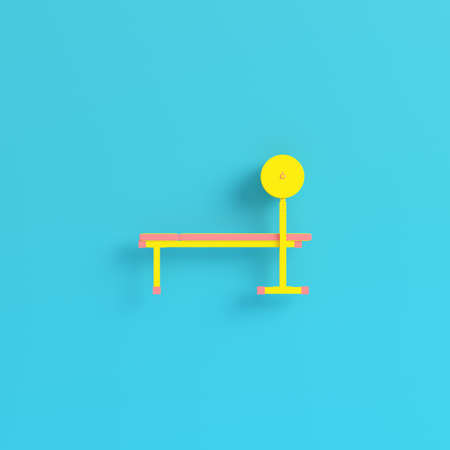 Yellow barbell on bench blue background in pastel colors. Minimalism concept. 3d render