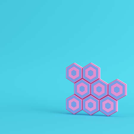 Abstract hexagons on bright blue background in pastel colors. Minimalism concept. 3d render Фото со стока