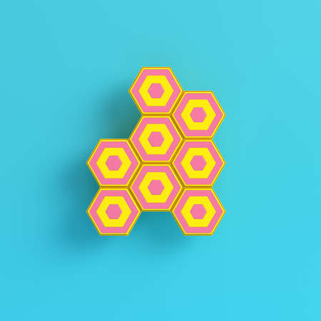 Yellow abstract hexagons on bright blue background in pastel colors. Minimalism concept. 3d render Stockfoto