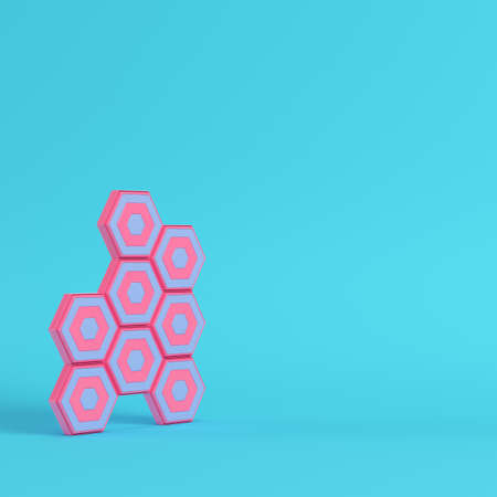 Abstract hexagons on bright blue background in pastel colors. Minimalism concept. 3d render Stockfoto