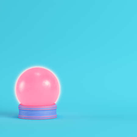 Pink crystal glass on bright blue background in pastel colors. Minimalism concept. 3d render
