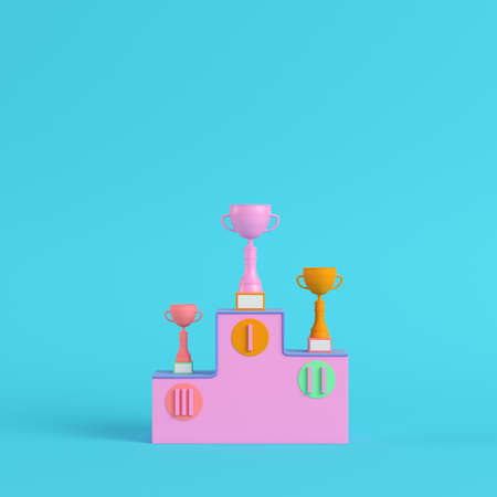 Pedestal with trophy cups on bright blue background in pastel colors. Minimalism concept. 3d render