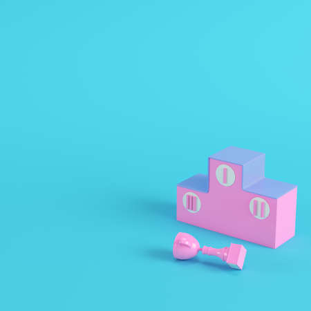 Pedestal with a fallen trophy cup on bright blue background in pastel colors. Minimalism concept. 3d render Фото со стока