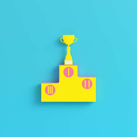 Yellow pedestal with trophy cup on bright blue background in pastel colors. Minimalism concept. 3d render