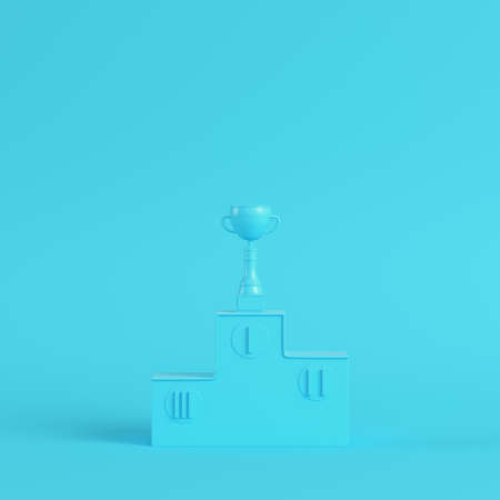 Pedestal with trophy cup on bright blue background in pastel colors. Minimalism concept. 3d render