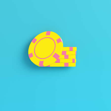 Yellow casino chips on bright blue background in pastel colors. Minimalism concept. 3d render