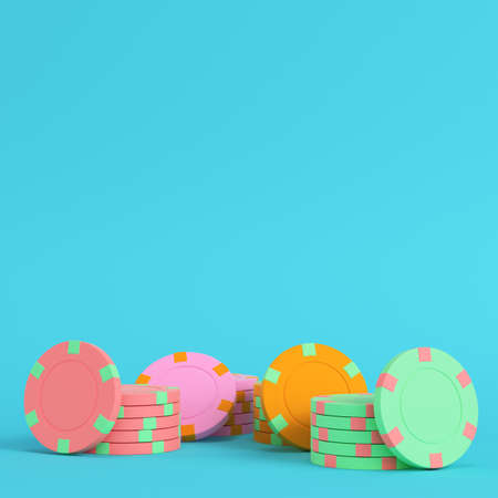 Colorful casino chips on bright blue background in pastel colors. Minimalism concept. 3d render