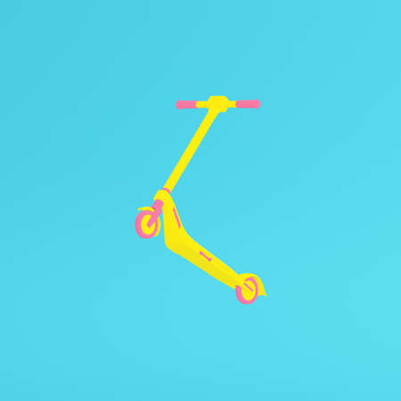 Yellow kick scooter on bright blue background in pastel colors. Minimalism concept. 3d render