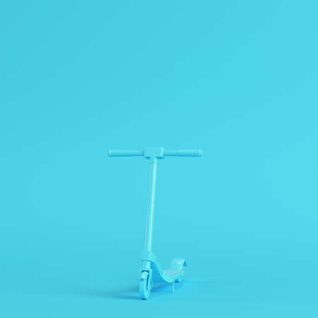 Kick scooter on bright blue background in pastel colors. Minimalism concept. 3d render