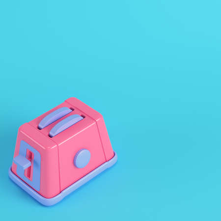 Pink toaster on bright blue background in pastel colors. Minimalism concept. 3d render