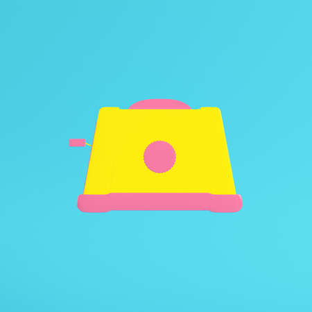 Yellow toaster on bright blue background in pastel colors. Minimalism concept. 3d render