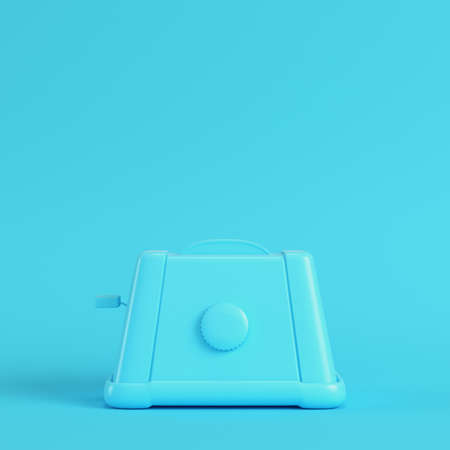 Toaster on bright blue background in pastel colors. Minimalism concept. 3d render Фото со стока