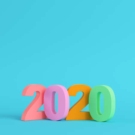 Four colorful 2020 new year figures on bright blue background in pastel colors. Minimalism concept. 3d render Фото со стока