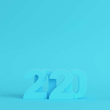 New year 2020 figures on bright blue background in pastel colors. Minimalism concept. 3d render
