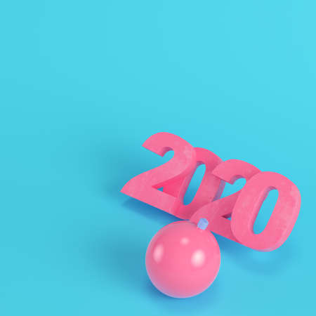 Pink new year 2020 figures with christmas bauble on bright blue background in pastel colors. Minimalism concept. 3d render