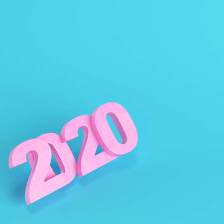 Pink new year 2020 figures on bright blue background in pastel colors. Minimalism concept. 3d render Фото со стока