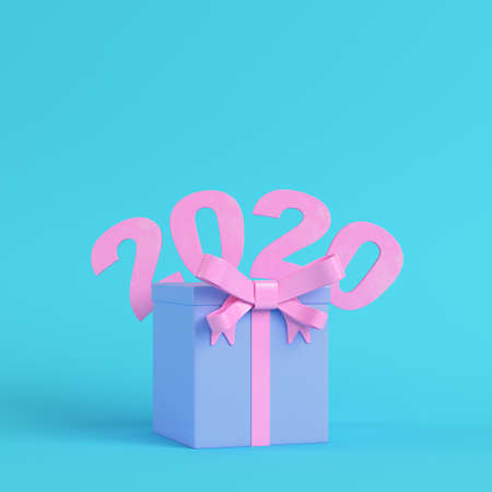 Pink new year 2020 figures with gift box on bright blue background in pastel colors. Minimalism concept. 3d render Banco de Imagens