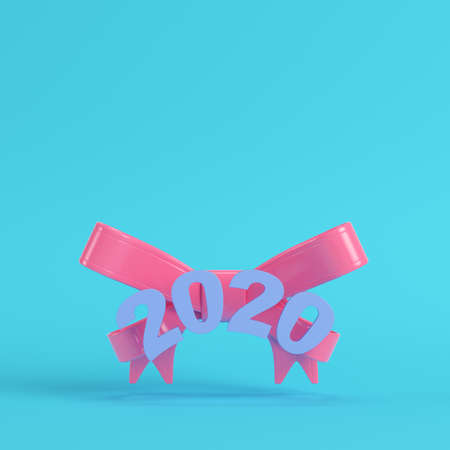 Pink new year 2020 figures wuth bow on bright blue background in pastel colors. Minimalism concept. 3d render