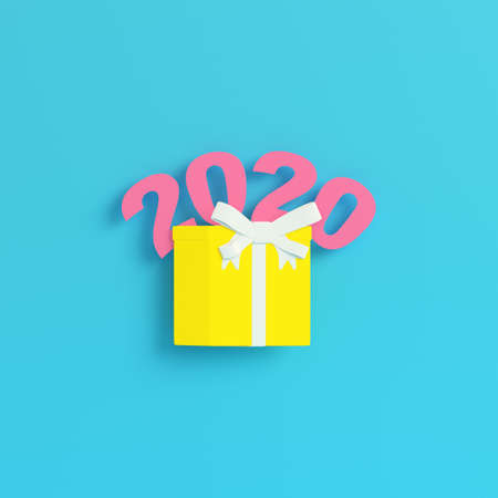 Yellow new year 2020 figures with gift box on bright blue background in pastel colors. Minimalism concept. 3d render