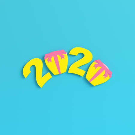 Yellow new year 2020 figures with gift boxes on bright blue background in pastel colors. Minimalism concept. 3d render