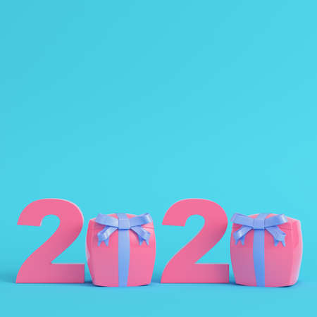 Pink new year 2020 figures with gift boxes on bright blue background in pastel colors. Minimalism concept. 3d render