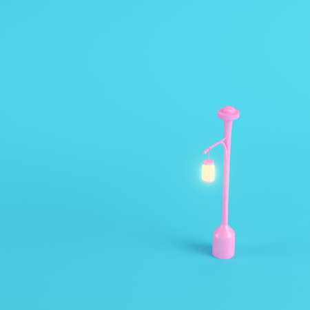 Pink new street light on bright blue background in pastel colors. Minimalism concept. 3d render