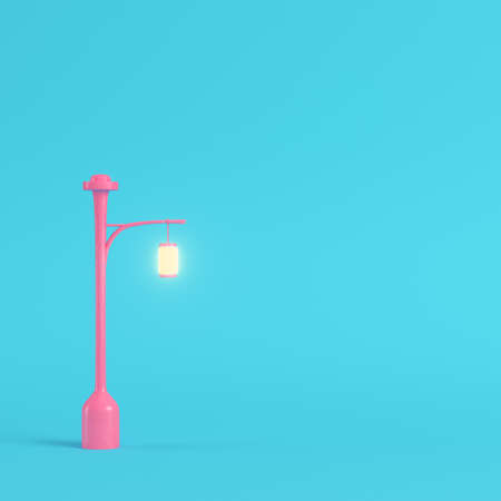 Pink street light on bright blue background in pastel colors. Minimalism concept. 3d render