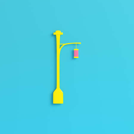 Yellow street light on bright blue background in pastel colors. Minimalism concept. 3d render