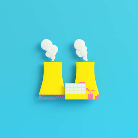 Yellow nuclear power plant on bright blue background in pastel colors. Minimalism concept. 3d render Stockfoto