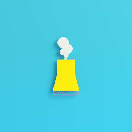Yellow smoking pipe of nuclear power plant on bright blue background in pastel colors. Minimalism concept. 3d render
