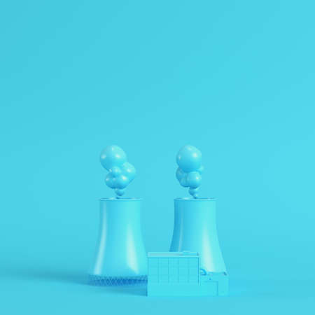Nuclear power plant on bright blue background in pastel colors. Minimalism concept. 3d render