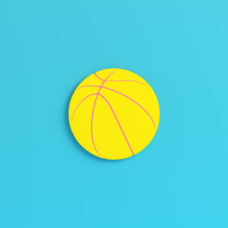 Yellow basketball ball on bright blue background in pastel colors. Minimalism concept. 3d render