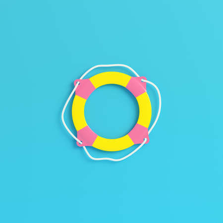 Yellow tlife buoy on bright blue background in pastel colors. Minimalism concept. 3d render