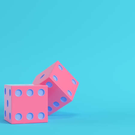 Pink two dices bright blue background in pastel colors. Minimalism concept. 3d render Zdjęcie Seryjne