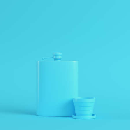 Hip flask with cup on bright blue background in pastel colors. Minimalism concept. 3d render Stok Fotoğraf