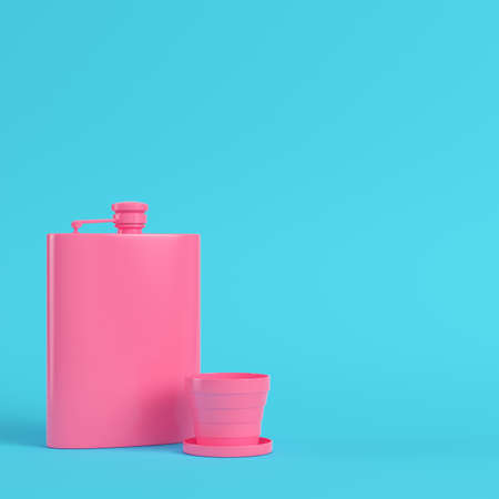 Pink hip flask with cup on bright blue background in pastel colors. Minimalism concept. 3d render