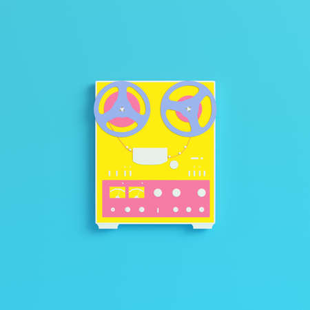 Yellow reel to reel type recorder on bright blue background in pastel colors. Minimalism concept. 3d render