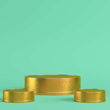 Golden cylindrical display stands on bright green background in pastel colors. Minimalism concept. 3d render Zdjęcie Seryjne
