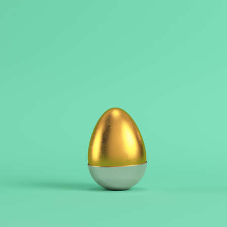 Golden egg with bottom part of silver shell on bright green background in pastel colors. Minimalism concept. 3d render